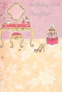 Ticker Enterprises Carte d'anniversaire pour femme « Bon anniversaire ma fille, avec affection » avec chaussures, boites à chapeau et cosmétiques en gaufrage argenté Lilas et crème