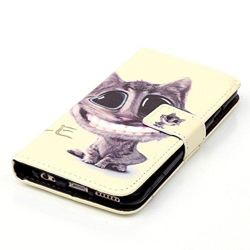 iPhone 6S Plus Hülle,iPhone 6 Plus Hülle,iPhone 6S Plus / 6 Plus Hülle,iPhone 6S Plus / 6 Plus Leder Wallet Tasche Brieftasche Schutzhülle,ikasus® Embossed Geprägte Muster PU Lederhülle Flip Hülle im  Feder Katze Keep Your Smile