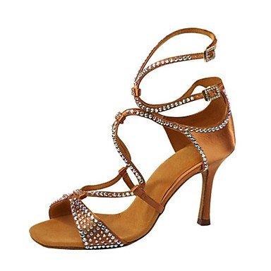 Tranquilidad, Zapatos Para Bailes Latinoamericanos Con Tacones, Personalizables, En Polipiel Con Purpurina, Para Mujeres; Color Negro Marrón