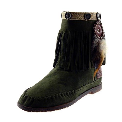 Angkorly - Damen Schuhe Stiefeletten Stiefel - Mokassin Stiefel - Folk - Slip-on - Fransen - Feder - Nieten - Besetzt Blockabsatz 1.5 cm - Grüne M866 T 37