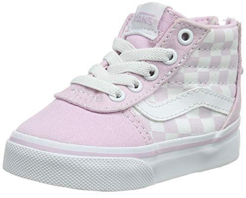Vans Unisex Baby Ward Hi Zip Sneaker, Pink ((Checkerboard) Lilac Snow V2q), 24 EU -