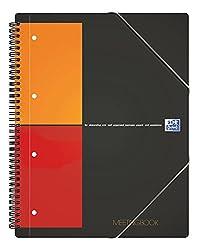 OXFORD 100100362 Meetingbook International A4 kariert 4-fach gelocht 2 in 1 Collegeblock und Gummizugmappe grau