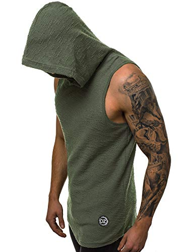 OZONEE Herren T-Shirt mit Kapuze Tank Top Tankshirt Unterhemden Ärmellos Weste Muskelshirt Fitness Kapuzenpullover O/1247 DUNKELGRÜN M -