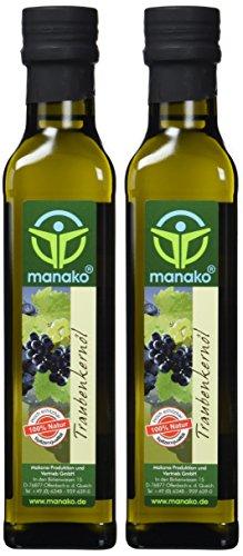 manako Traubenkernöl, raffiniert, 100% rein, 2 x 250 ml Glasflasche (2 x 0,25 l)