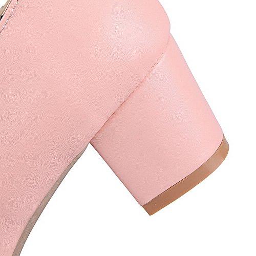 VogueZone009 Femme Couleur Unie Matière Souple à Talon Correct Lacet Rond Chaussures Légeres Rose