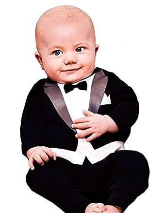 Zarlena Baby Tuxedo Strampler 12 - 18 schwarz