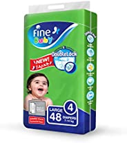 Fine Baby Double Lock, Size 4, Large, 7-14 kg, Jumbo Pack, 48 Diapers