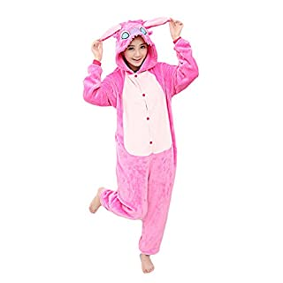 Yimidear® Unisex Adult Pajamas Cosplay Costume Animal Onesie Sleepwear Nightwear (XL, Pink Stitch)