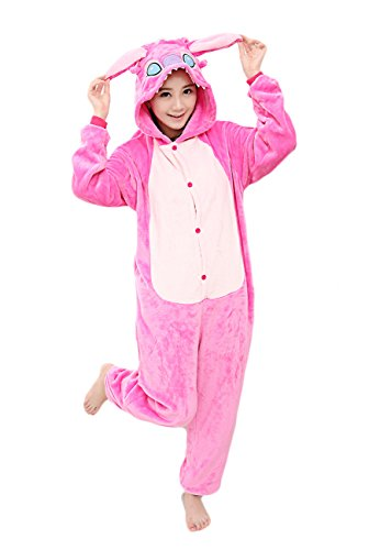 Yimidear® Unisex Cálido Pijamas para Adultos Cosplay Animales de Vestuario Ropa de dormir Halloween y Navidad(M, rosa Stitch)