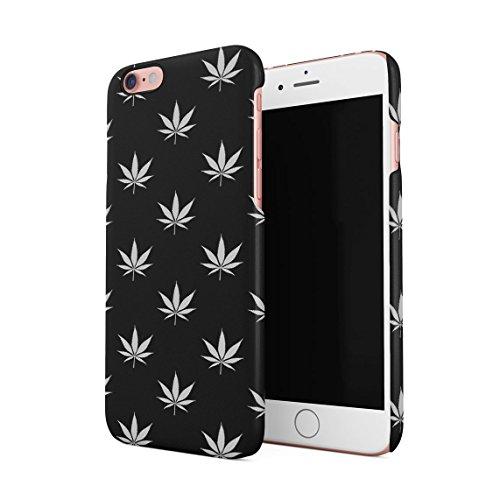 Weed Marijuana Leaf Black And White Pattern Dünne Rückschale aus Hartplastik für iPhone 6 & iPhone 6s Handy Hülle Schutzhülle Slim Fit Case cover