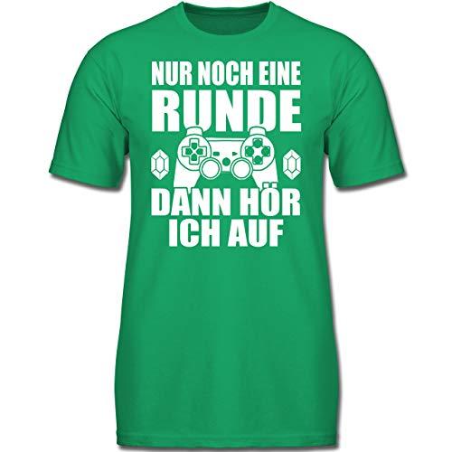 Verrückte Jungs T-shirt (Sprüche Kind - Nur noch eine Runde - 152 (12-13 Jahre) - Grün - F130K - Jungen Kinder T-Shirt)