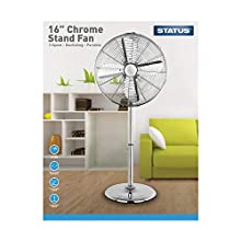 Status S16CSTANDFAN1PKB1 Portable Oscillating Pedestal Floor Fan, Chrome