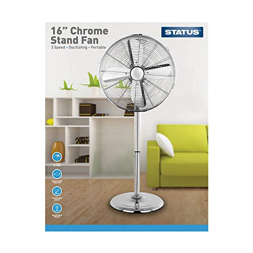 Status S16CSTANDFAN1PKB1 Portable Oscillating Pedestal Floor Fan, Chrome