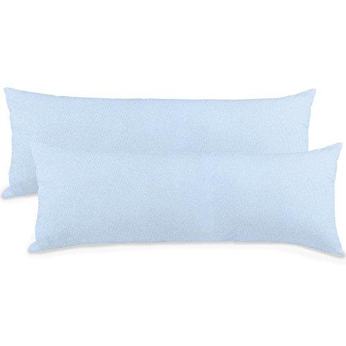 aqua-textil Classic Line 2er-Set Seitenschläferkissen Bezug 40x145 cm Kissenbezug, Reißverschluss, 0010094 aqua blau -