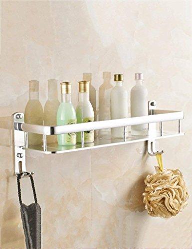 XQY Hochwertiges Küchen-Badezimmer-Regal, Raum-Aluminiumregal-Toiletten-Regale Wand-angebracht mit Haken-Badezimmer-Gestell-Kosmetik-Rahmen, der Qualität, Tuch-Zahnstange sichert,40 cm,3 -