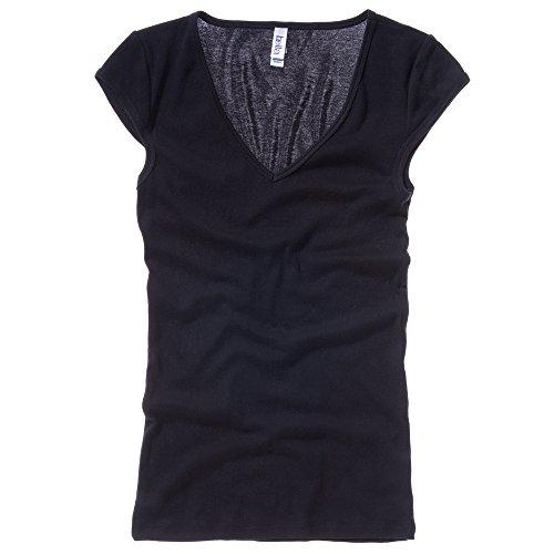 Bella+Canvas Sheer mini rib v-neck t-shirt Black