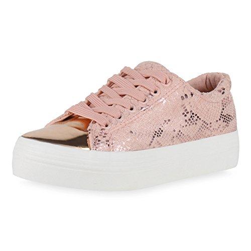 Damen Plateau Sneakers 90s Style Sportschuhe Freizeit Damen Sneakers Rosa Snake 38 Jennika io5gfC0QrB
