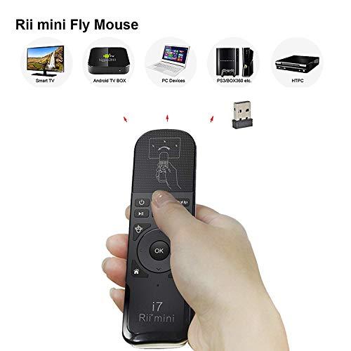 Rii KS07Ergonomische Fernbedienung mit Befehle Multimedia Kompatibel mit Windows-Mac OS X-Linux-Android-Smart TV-Playstation 3und 4-Xbox 360und One-Raspberry Pi