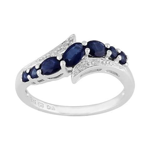 Bague Style Contemporain Argent Sterling Diamant & Saphir Bleu Naturel 0,94ct