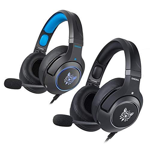 Kabelgebundenes Gaming-Headset mit LED-Licht, professionelles 2,1 m Länge, Plug & Play akkurate Audio-Qualität Overhead-Gaming-Ohrhörer mit weichem Ohrpolster und Mikrofon für PC, Laptop, Notebook Audio-qualität