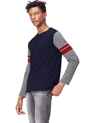 FIND Camiseta de Manga Larga para Hombre, Azul (Navy/mid Heather Grey), Small