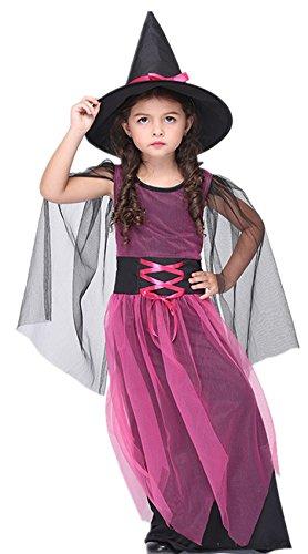 WLITTLE Halloween Kostüm Mädchen Kinderkostüm Hexe Kostüm für Mädchen Kleid Lila Cosplay Hexenkostüm Süßes Karneval Cosplay Halloween Kostüm mit Hut (Legolas Cosplay Kostüm)