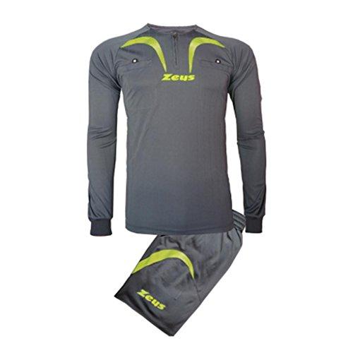 Zeus - Equipement arbitre football maillot + short Pro - Couleur : Gris Jaune Fluo - Taille : L