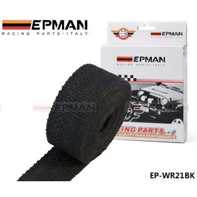 EPMAN schwarzes Glasfaser-Hitzeschutzband 50mmx10m für Fächerkrümmer& Auspuffanlagen Abgasanlage
