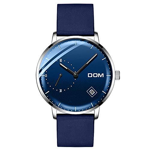 WAHHY Quarz-Uhr Wasserdicht Einfaches Design Advanced Band Kalender Kleine Zweite Zifferblatt-Uhr-Nadel Fluoreszenz Präzisions Timing Männliche Und Weibliche Uhren,Blue