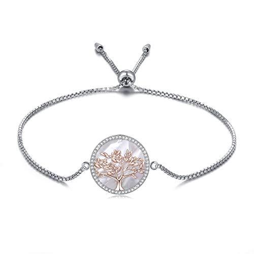 MEGA CREATIVE JEWELRY Damen Armband Lebensbaum aus 925 Sterling Silber mit Perlmutt Kristallen von Swarovski