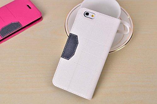 EKINHUI Case Cover Schlank und dünn gemischte Farben glänzende funkelt Muster Magnetische Verschluss Horizontale Flip Stand PU Ledertasche Cover mit Kickstand & Card Slot für iPhone 6 & 6s ( Color : R White