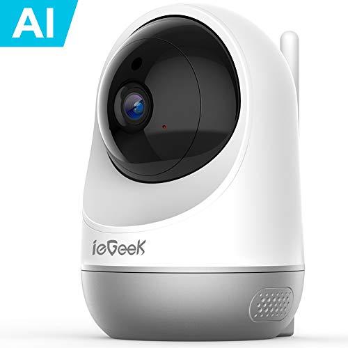 ieGeek 1080P Telecamera Wi-Fi Interno, Baby Monitor, AI Videocamera Sorveglianza Interno WiFi con Visione Notturna, Audio Bidirezionale, Notifica di Rilevamento del Movimento (Bianco)
