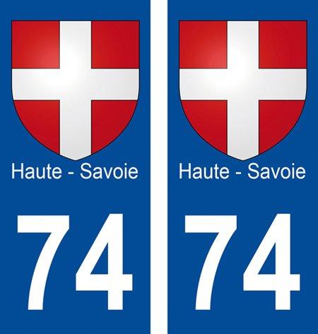2 autocollants pour plaque d'immatriculation département 74 Blason Haute-Savoie