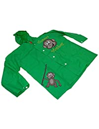Children's Monkey Design Waterproof Raincoat with Elasticated Hood