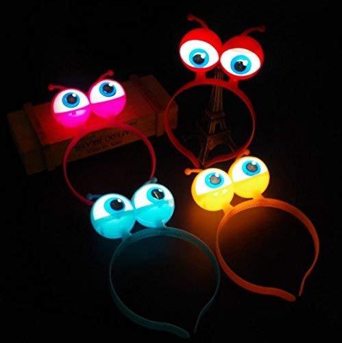 Gwill 4Pcs LED Light Luminous Halloween Vocal Concert Requisiten Supplies Aliens Augen Kopf Haarband Band Party Dekoration Erwachsene Kinder Haar Zubehör Geschenk