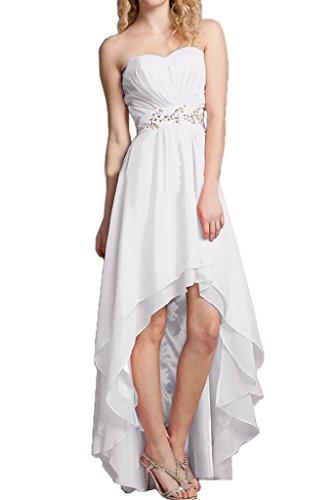 Missdressy Damen Hi-Lo Chiffon Herzform Traegerlos Steine Falten Abendkleider Partykleider Abiball Abschlussball Hochzeitsgast Kleider Weiß