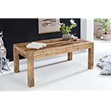 FineBuy mesa de café RUSTI 110 x 60 x 47 cm Mango de madera maciza natural | mesa de centro de estilo rural rústica Mesa de centro | Mesa de madera maciza sala de estar