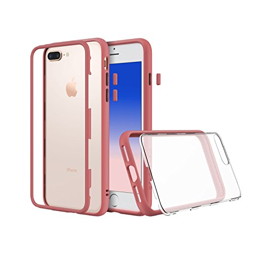 RhinoShield Modular iPhone 8 Plus Case - [Mod Case] [shock absorbent] [tough] Also fit Apple iPhone 7 Plus - Black Coral Pink with Clear Back