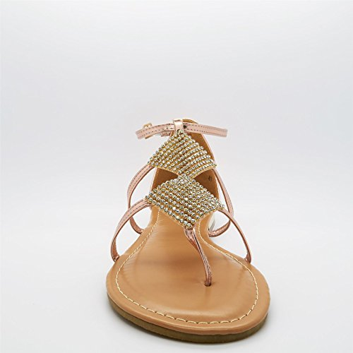 London Chaussures - Gladiatore Donna Beige (or Rose)