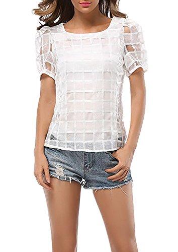 Damen T-Shirt Kurzarmshirts Sommerbluse Shirt Kurzarm Rundkragen Schlank Organza Karo-Muster Aushoshlen Uni-Farben Weiß