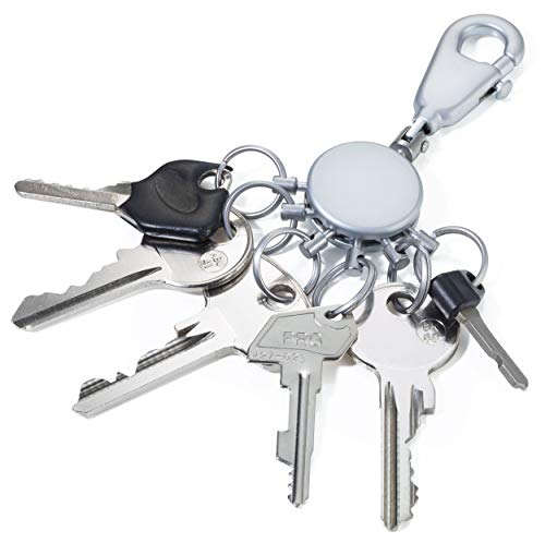 TROIKA Basic Set - 2 PATENT SCHLÜSSELHALTER - KYR60/MC - -TB-KYR60/MC - matt - Schlüsselanhänger - Karabinerhaken - 6 ausklinkbare Ringe - Schlüsselorganisation - TROIKA-Original - Ringe Sechs