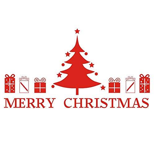 WGZLGZ Wandaufkleber Heiraten Weihnachtsbaum Schön Geschenk Box Wandaufkleber Für Kinderzimmer Weihnachten Fenster Aufkleber Wandkunst Aufkleber Home Decor, Rot, 106 Cm X 59 Cm -