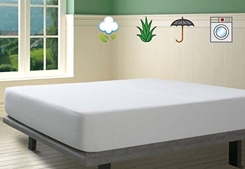 Savel, Protector de colchón Rizo 100% algodón con tratamiento Aloe Vera, Impermeable, 150x190cm (para camas de 150)