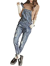a7f5cd7294 MISSMAO Ladies Womens Regular Fit Fades Denim Dungaree Jumpsuit Ripped Jeans  Pants