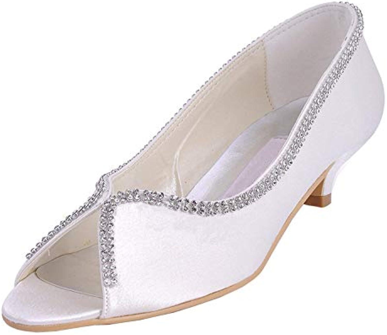 Qiusa donna MZ536 Kitten Heel Heel Heel Satin Wedding Prom Party Sandali (Coloreee   Ivory-5cm Heel, Dimensione   9 UK) | Exit  | Uomini/Donna Scarpa  eb56f2