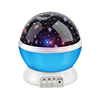 Bestfire Novelty 360 Rotating Round Night Light Projector Lamp (Star Moon Sky Projector,3 Model Light, USB Battery Powered) Romantic Home Decoration Lamp Great Gift for Children