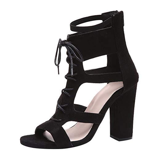 Tulip Cut Outs (DIPOLA Damen Dicke Absatz Schuhe High Heels Damen große Kreuzriemen Zipper Sandalen)