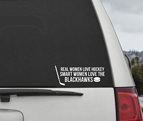 Cellycasy Aufkleber für Autofenster, Vinyl, Motiv Real Women Love The Blackhawks -