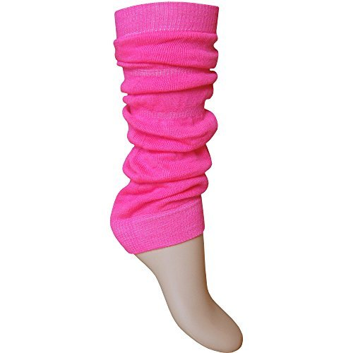 Ladies & Girls Bright Fluorescent Neon Stretch Fit Comfort Ankle Leg Warmers (Neon Pink)