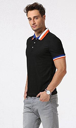 Whatlees Herren Basic Kurzarm Poloshirts Hemd Shirts in Verschieden Farben B470-Black